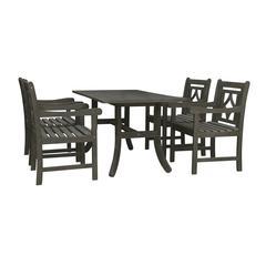 Renaissance Outdoor 5-piece Wood Patio Curvy Legs Table Dining Set