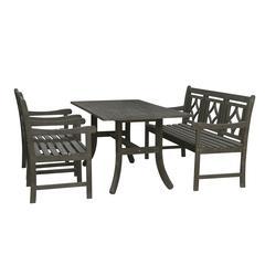 Renaissance Outdoor 4-piece Wood Patio Curvy Legs Table Dining Set