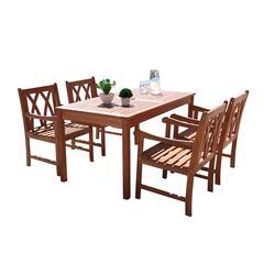 Malibu Outdoor 5-piece Wood Patio Dining Set