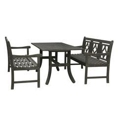 Renaissance Outdoor 3-piece Wood Patio Curvy Legs Table Dining Set