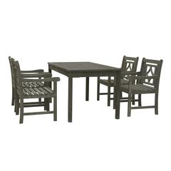 Renaissance Outdoor 5-piece Wood Patio Rectangular Table Dining Set