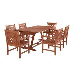 Malibu Outdoor 7-piece Wood Patio Extendable Table Dining Set