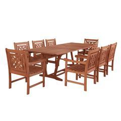 Malibu Outdoor 9-piece Wood Patio Extendable Table Dining Set
