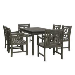 Renaissance Outdoor 7-piece Wood Patio Rectangular Table Dining Set