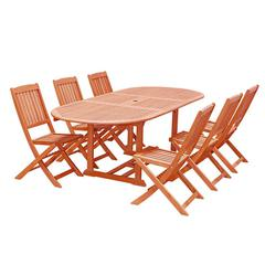 Malibu Outdoor 7-piece Wood Patio Dining Set with Extension Table & Folding Chairs