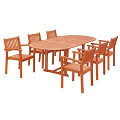 Malibu 7-piece Wood Outdoor Dining Set with Extension Table and Stacking Chairs
