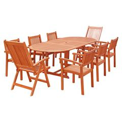 Malibu Outdoor 9-piece Wood Patio Dining Set with Extension Table, Stacking Chairs and Reclining Chairs