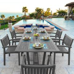 Renaissance Outdoor Patio Hand-scraped Wood 7-piece Dining Set with Extension Table