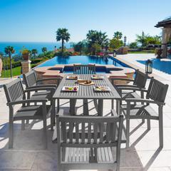Renaissance Outdoor Patio Hand-scraped Wood 7-piece Dining Set with Stacking Chairs