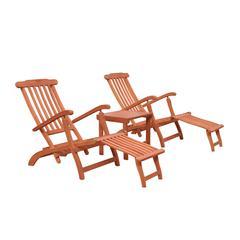 Malibu Wood Outdoor Patio 3-Piece Chaise Lounge Set