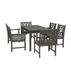 Renaissance Outdoor 6-piece Wood Patio Rectangular Table Dining Set