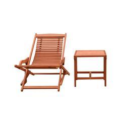 Malibu Wood Outdoor Patio 2-Piece Chaise Lounge Set