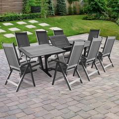 Renaissance Outdoor Patio Hand-scraped Wood 9-piece Dining Set with Extension Table