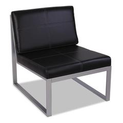 Alera Alera Ispara Series Armless Cube Chair, 26-3/8 x 31-1/8 x 30, Black/Silver