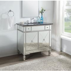 Atrian Sink Cabinet, Black Marble & Mirrrored