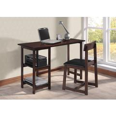 Vance 2Pc Pack Desk & Chair, Black PU & Espresso