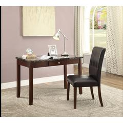 Sydney 2Pc Pack Desk & Chair, Black Faux Marble & Dark Walnut