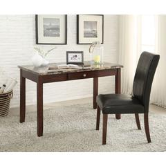 Sydney 2Pc Pack Desk & Chair, Brown Faux Marble & Dark Walnut