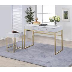 Coleen Desk, White & Brass
