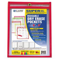 C-Line Reusable Dry Erase Pockets, 6 x 9, Assorted Neon Colors, 10/Pack