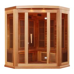 Maxxus 3 Per Low EMF FAR Infrared  Carbon Corner Canadian Red Cedar Sauna