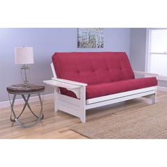 Phoenix Frame/Antique White Finish/Suede Red Mattress