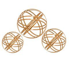 Set Of Three Metal Orbs In Copper