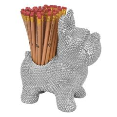 Resin Dog Pen Holder - Silver