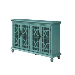 Four Door Media Credenza, Blue