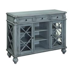 Three Drawer Two Door Credenza, Blue