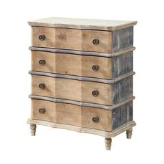 Four Drawer Chest, Natural / Blue