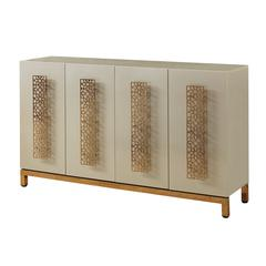 Four Door Media Credenza, Gold