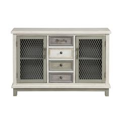 Two Door Four Drawer Credenza, Keystone Multi Color