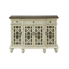 Four Door Three Drawer Media Credenza, Millstone Textured Ivory