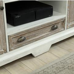 Two Door One Drawer Media Console, Wheeland Aged White & Brown