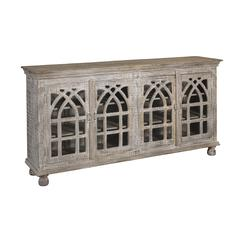 Four Door Media Credenza, Whitewashed