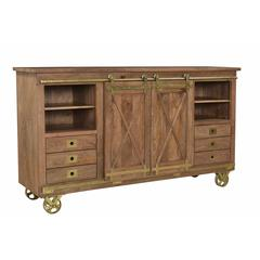 Two Sliding Door Six Drawer Media Credenza, Brown