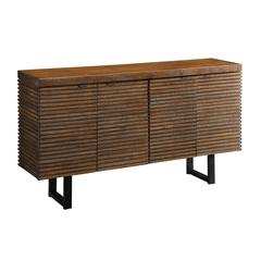 Four Door Media Credenza, Brown