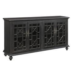 Four Door Media Credenza, Black
