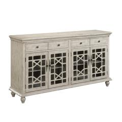 Four Door Four Drawer Media Credenza, Ivory