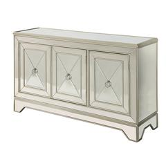 Three Door Media Credenza, Mirrored