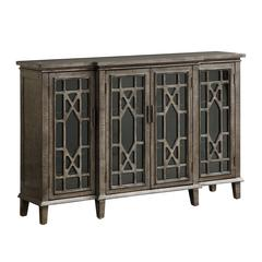 Four Door Media Credenza, Metallic