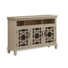 Three Door Media Credenza, Ivory