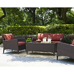 Kiawah 4 Piece Outdoor Wicker Seating Set With Sangria Cushions - Loveseat, Two Arm Chairs & Glass Top Table