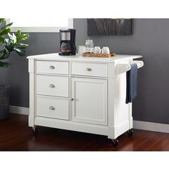 Lacey Kitchen Cart In Distressed White