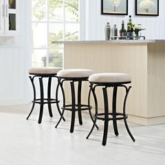 Hedley Swivel Counter Stool In Black Gold With Tan Cushion
