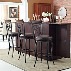 Kayden Bar Stool In Black With Dark Carmel Cushion