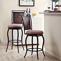 Wingate Swivel Counter Stool In Black Gold With Tan Cushion