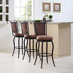 Wingate Swivel Bar Stool In Black Gold With Tan Cushion