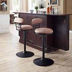 Jasper Swivel Counter Stool In Black With Brown Cushion